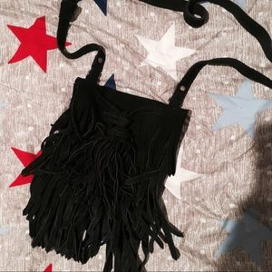 Urban Outfitters Mini Fringe Suede Crossbody Navy